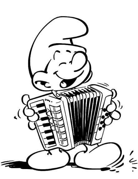 Coloriage schtroumpf musicien imprimer - Schtroumpf musicien ...