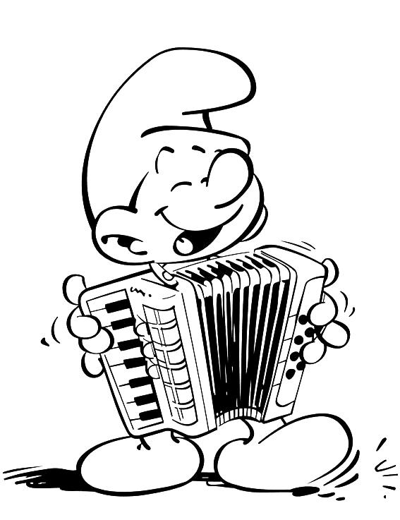 Coloriage Schtroumpf musicien