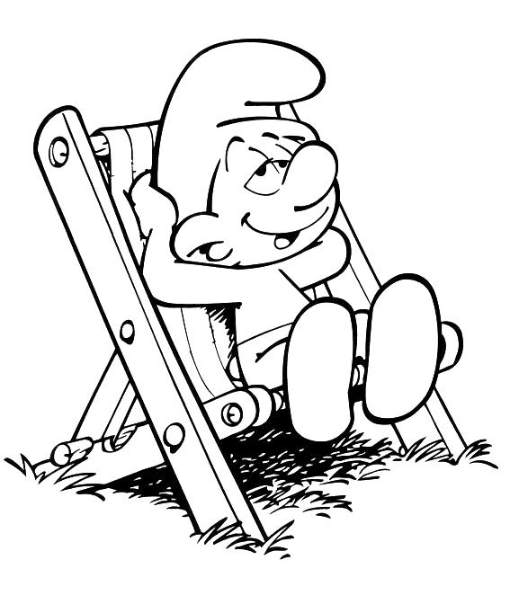 Coloriage Schtroumpf paresseux