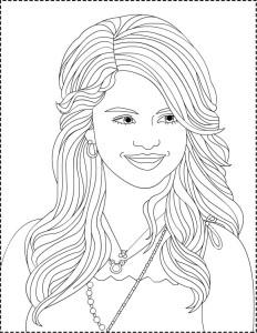 Coloriage Selena Gomez coiffure