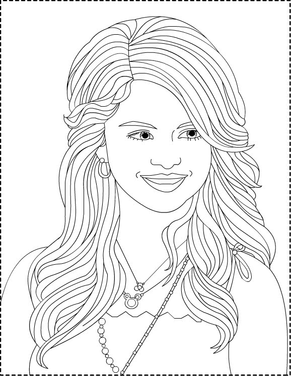 Coloriage selena gomez cheveux imprimer for Selena gomez coloring page