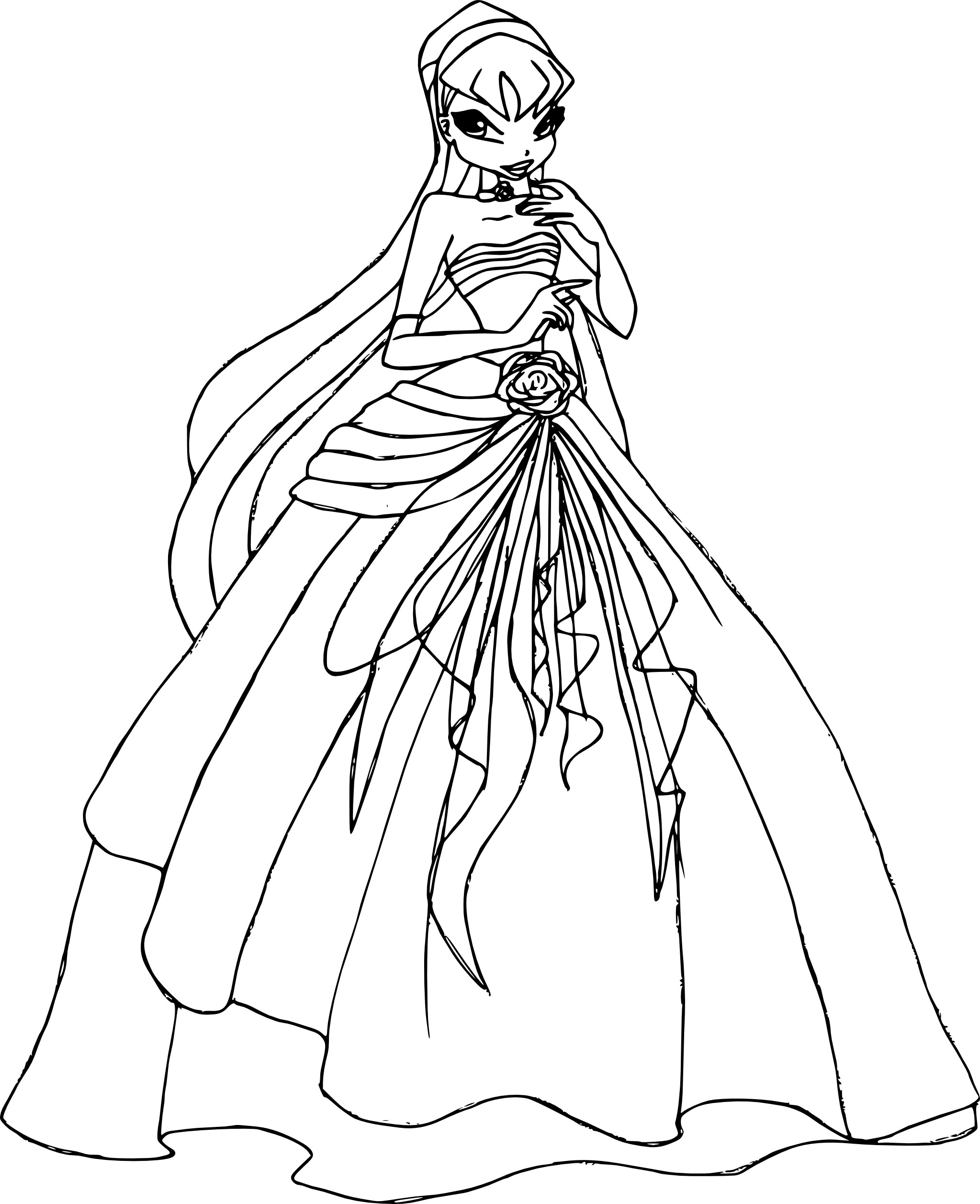 Coloriage Stella Princesse Winx A Imprimer