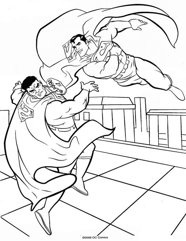 Coloriage Superman contre mechant