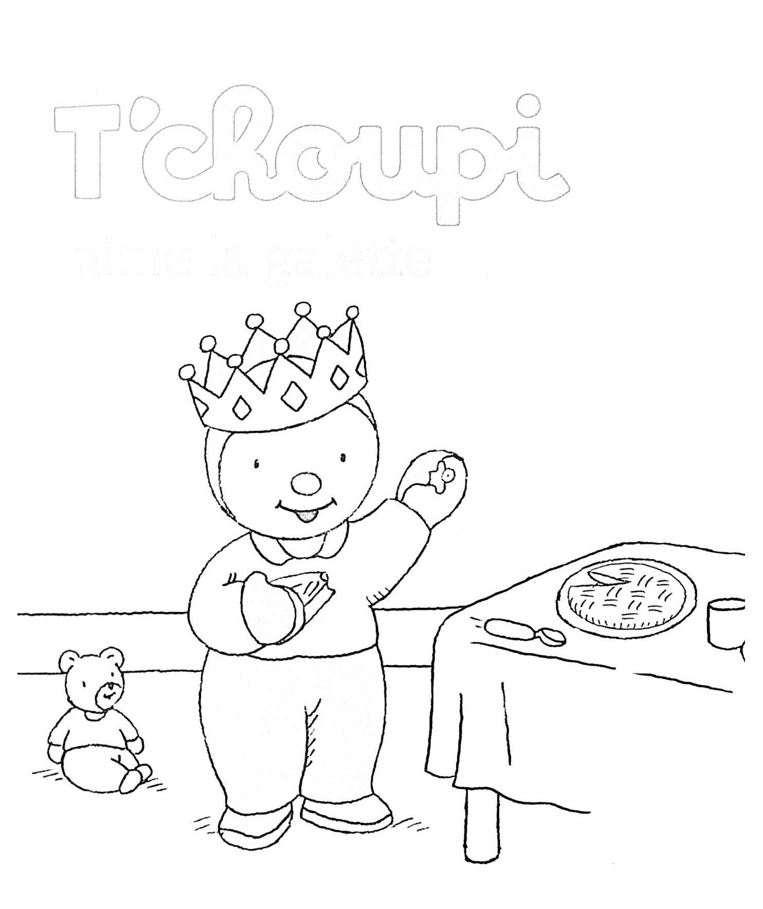 Coloriage Tchoupi galette