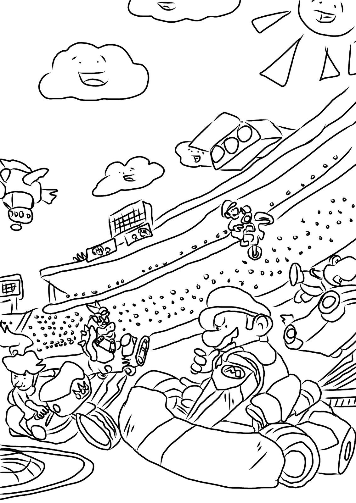 Coloriage mario kart gratuit imprimer for Mario kart coloring pages peach