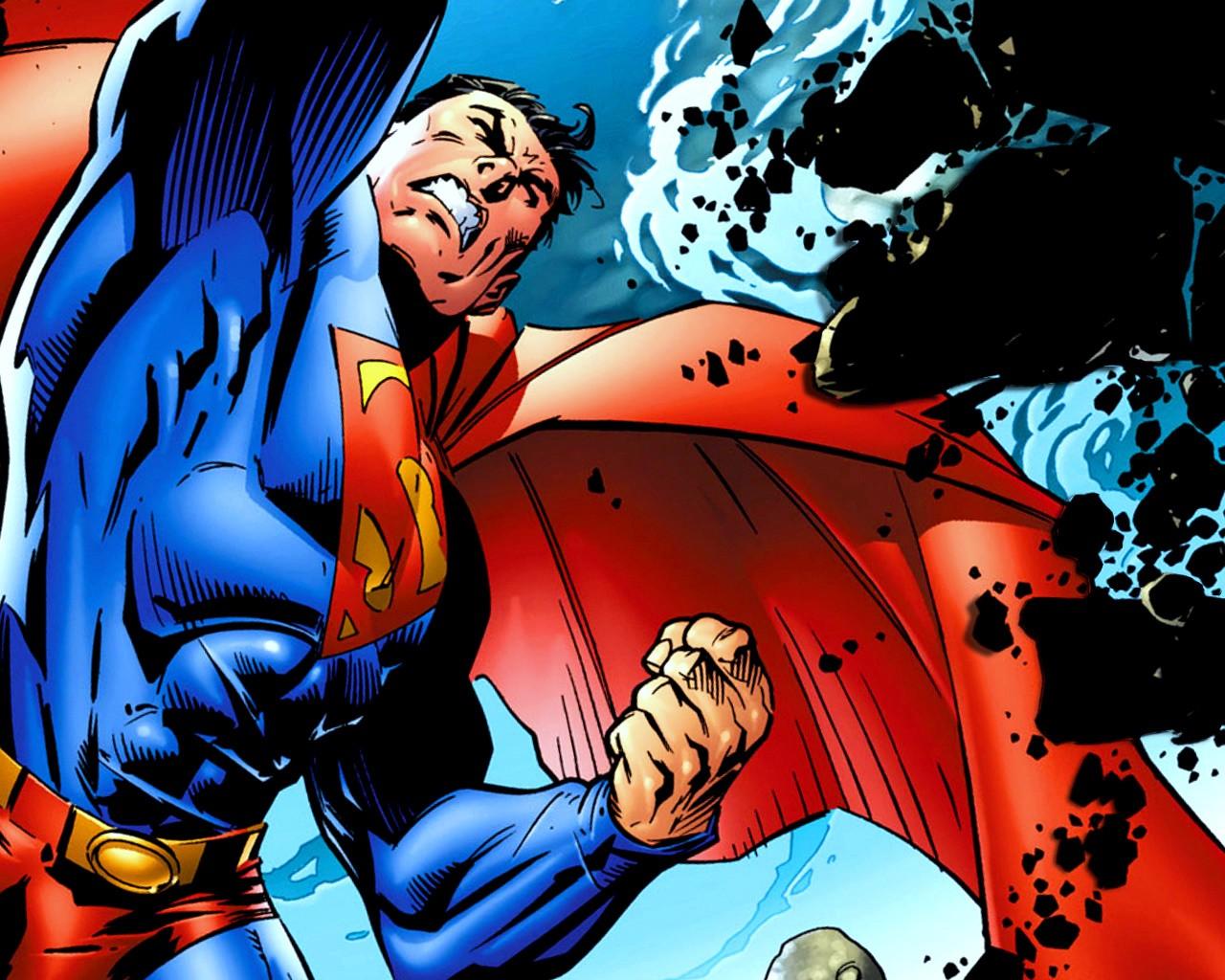 Coloriage Superman contre un méchant à imprimer