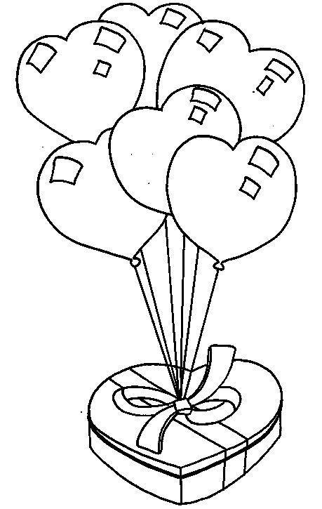 Coloriage ballon cadeau ST Valentin