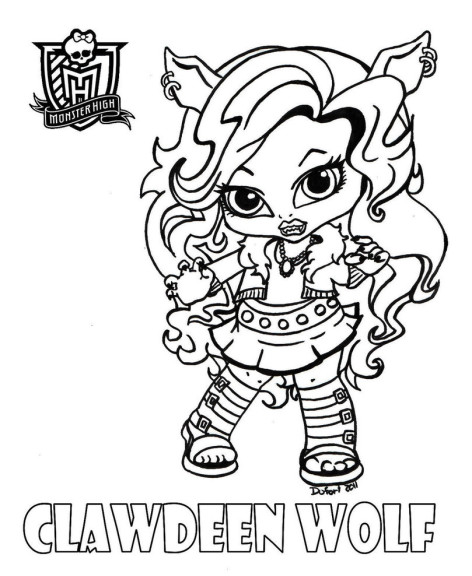 Coloriage bebe Clawdeen Wolf
