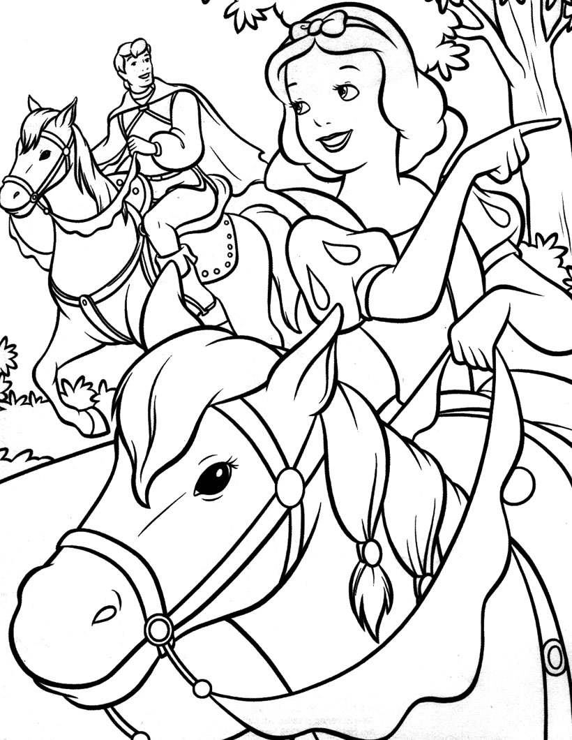 Coloriage Blanche Neige cheval