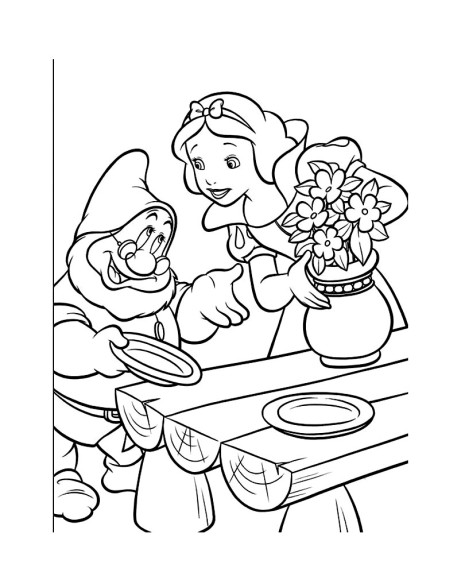 Coloriage Blanche Neige et nain