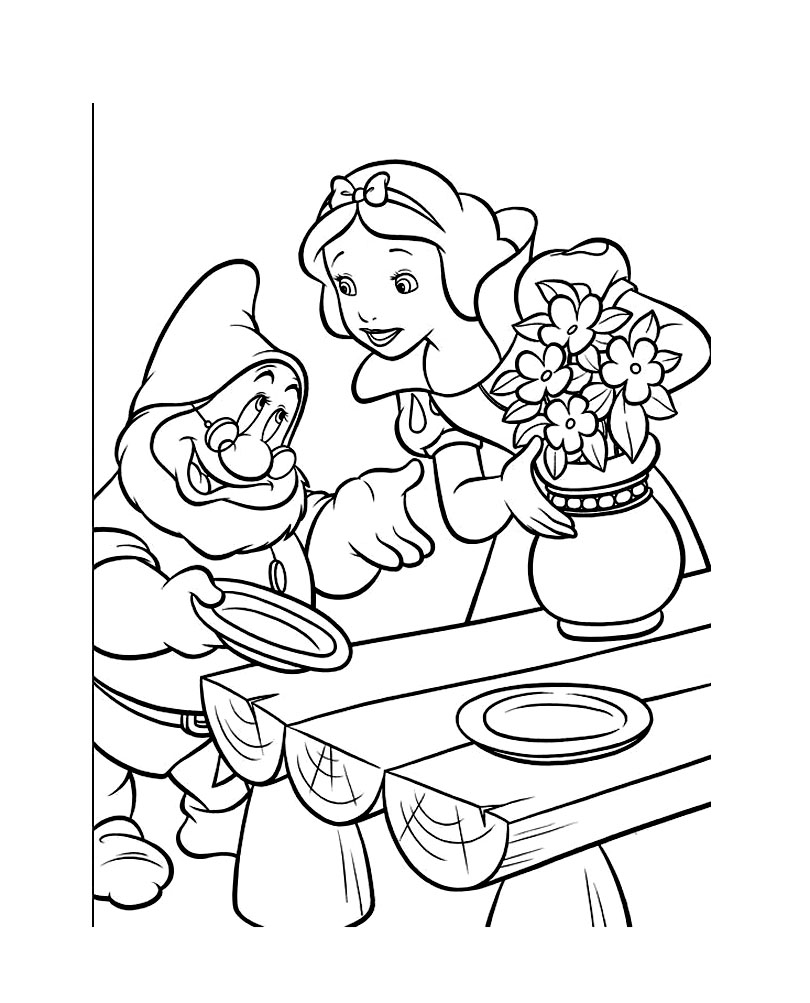 Coloriage Blanche Neige et nain à imprimer