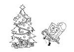 Coloriage Bob l'éponge à Noel