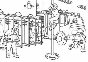 Coloriage caserne de pompier