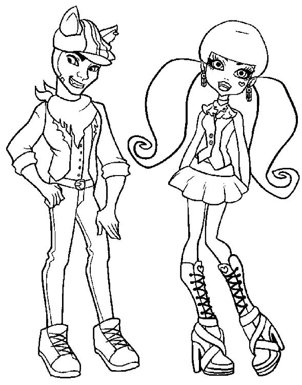Coloriage couple Monster High