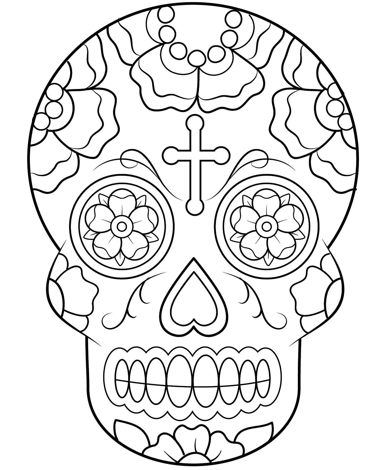 Easy Sugar Skull Drawings Tumblr Sketch Coloring Page