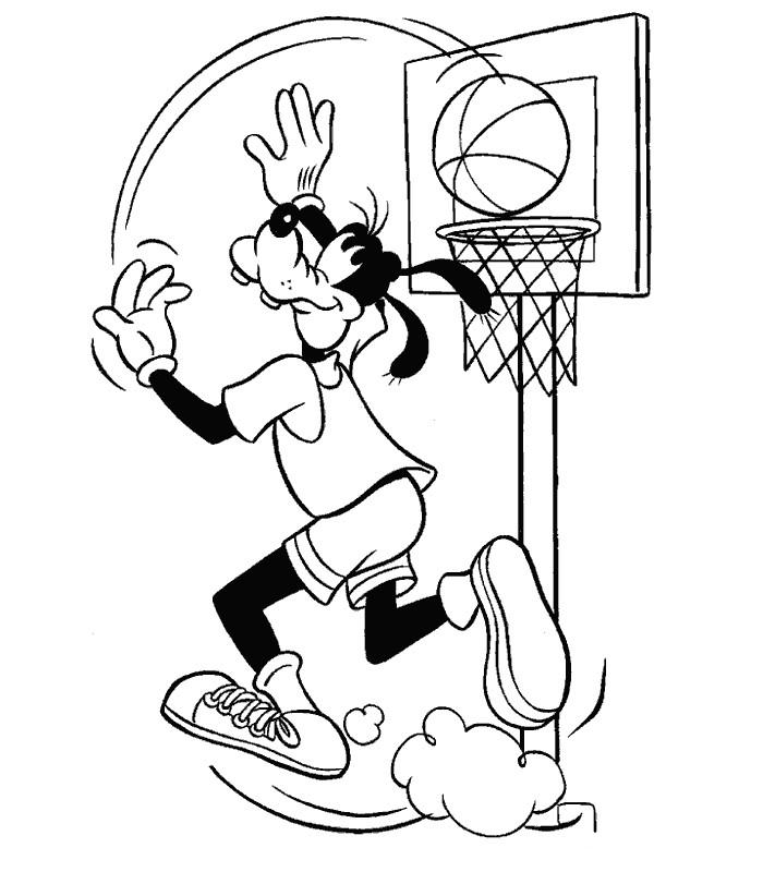 Coloriage Dingo Basketball