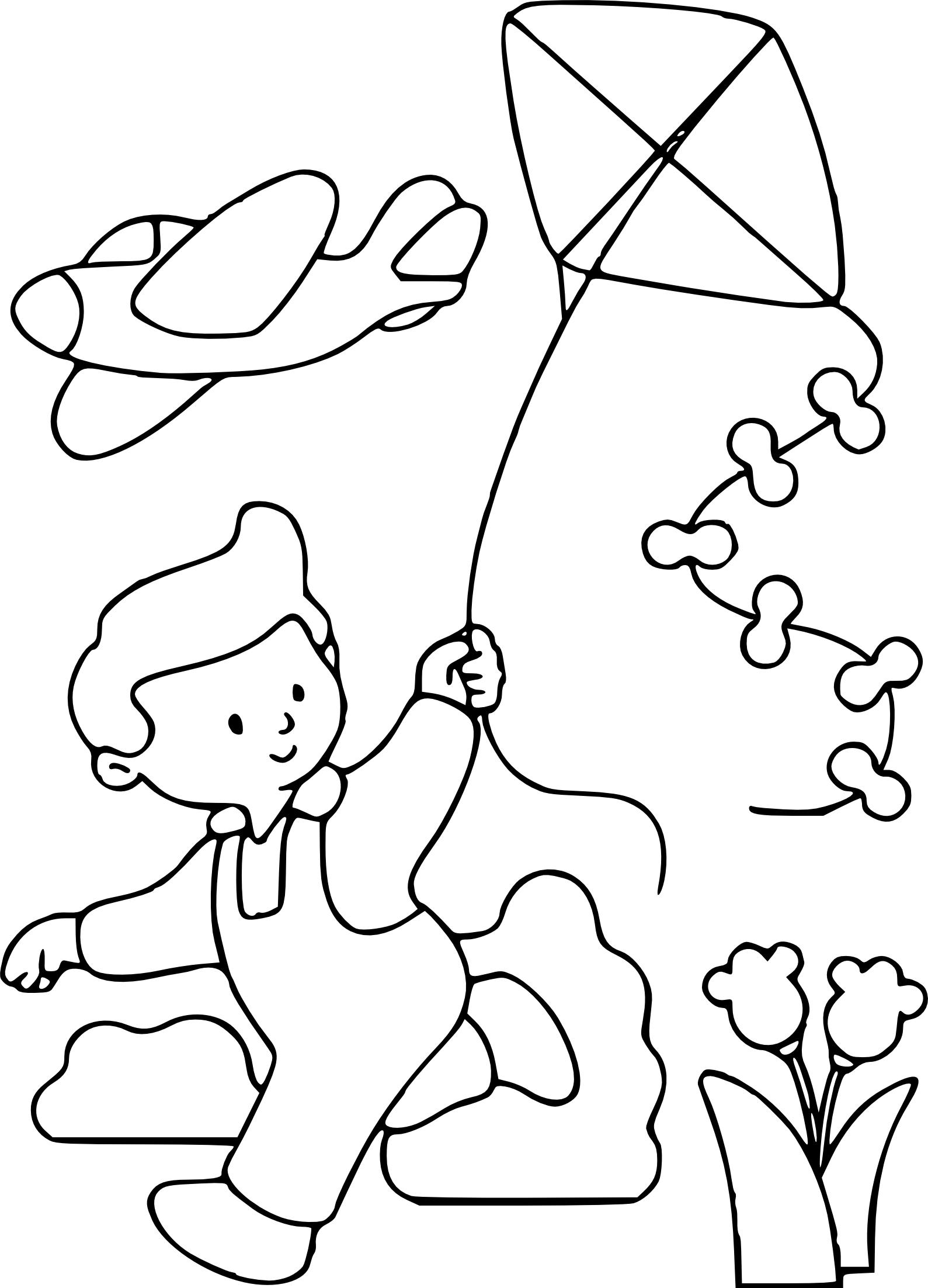 Coloriage enfant avec son cerf volant imprimer - Image dessin enfant ...