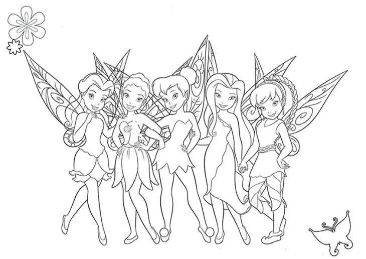 Coloriage fée clochette et ses amies