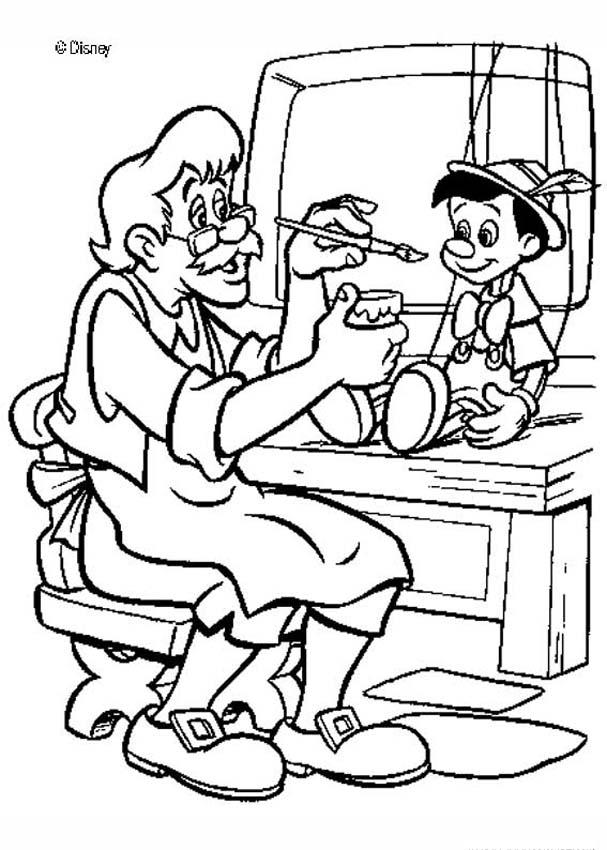 Coloriage Geppetto Pinocchio