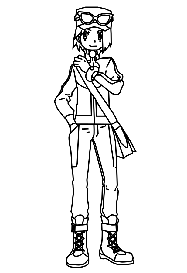 Coloriage Kalem dresseur pokemon