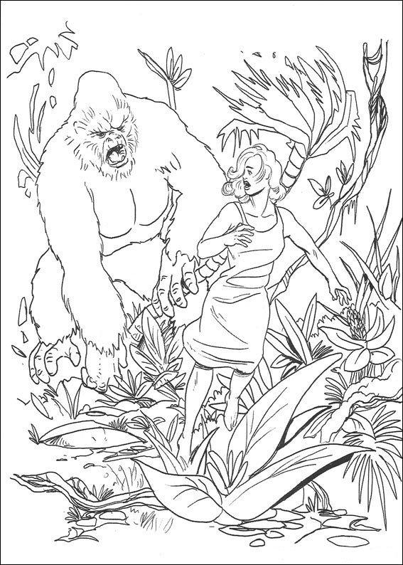 Coloriage King Kong et une femme