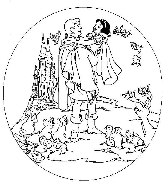 Coloriage le Prince et Blanche Neige