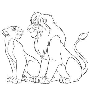 Coloriage le Roi Lion et Nala