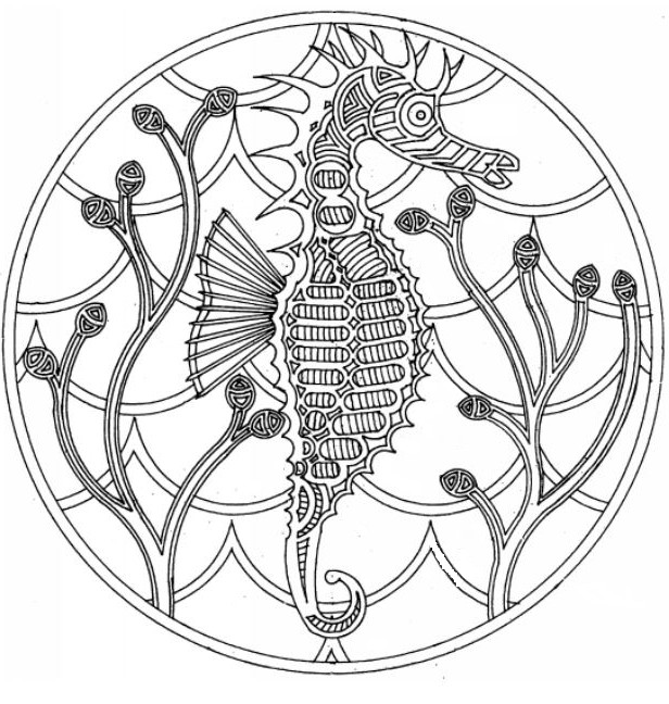 Coloriage mandala hippocampe