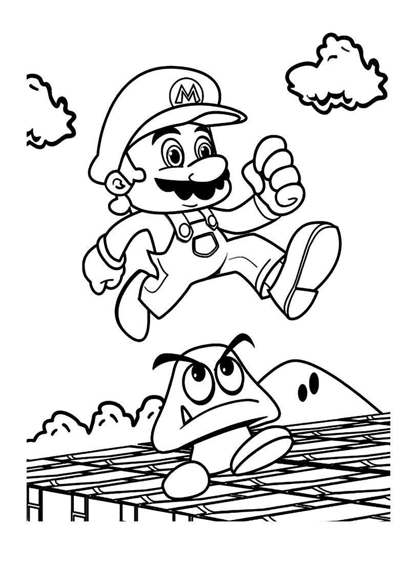 Coloriage Mario Jeu à imprimer