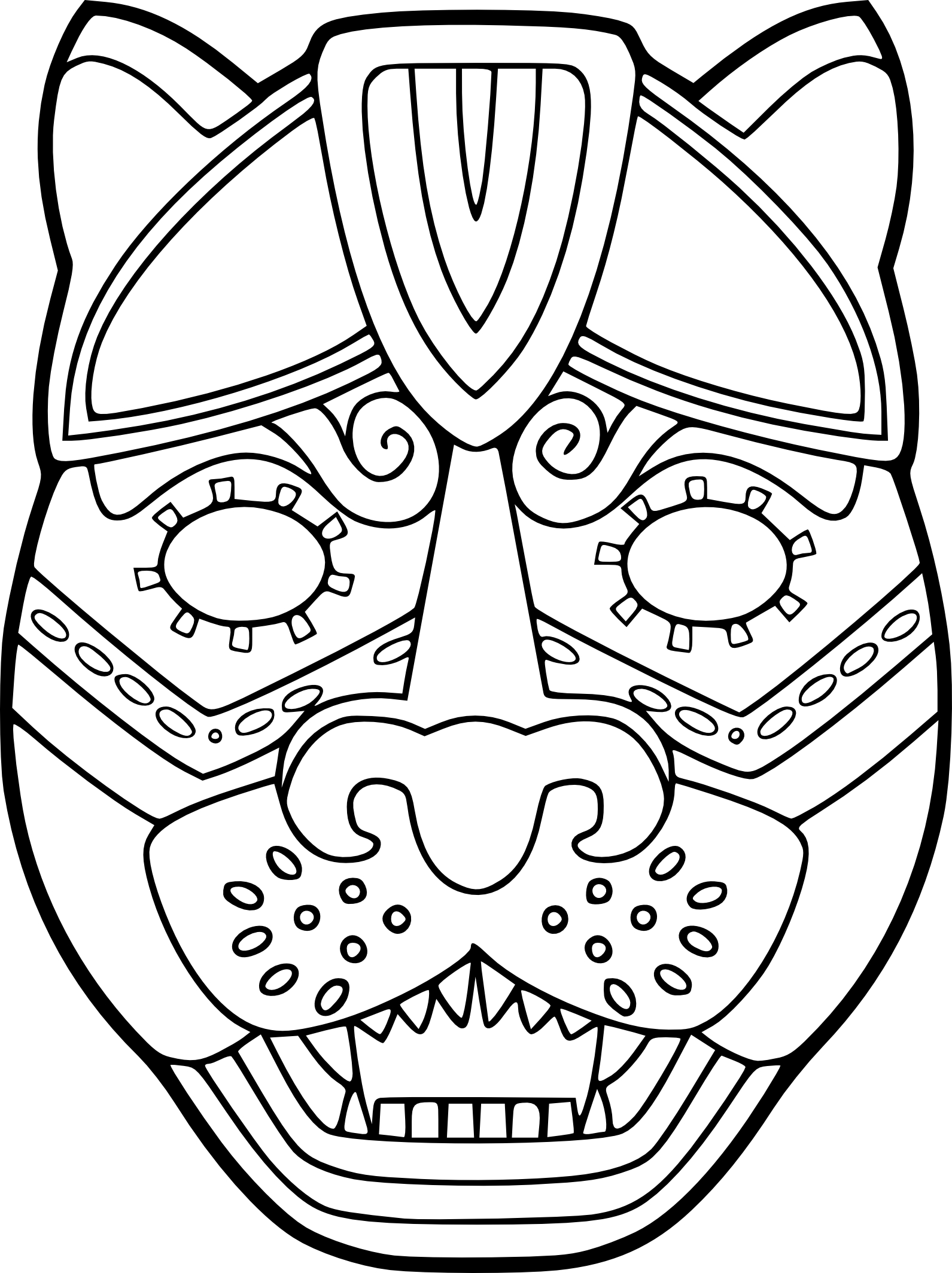 Coloriage masque jaguar