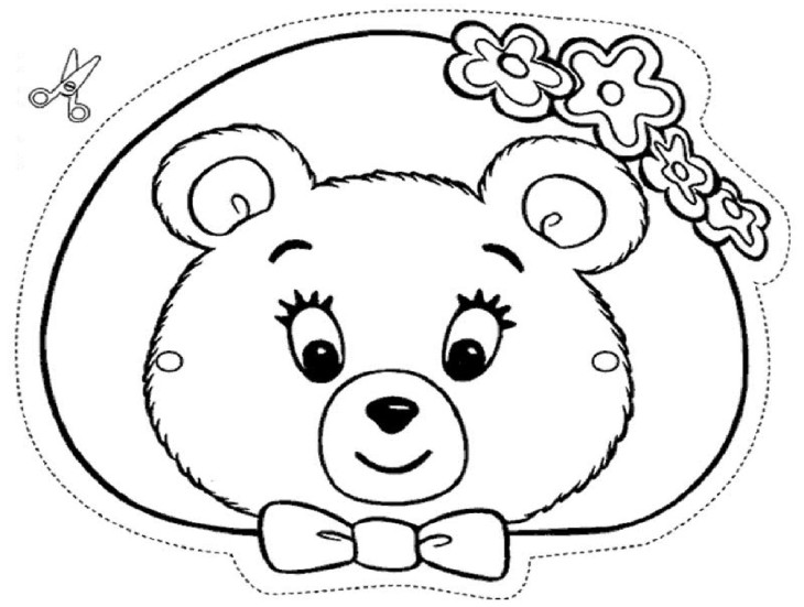 Coloriage masque ourson