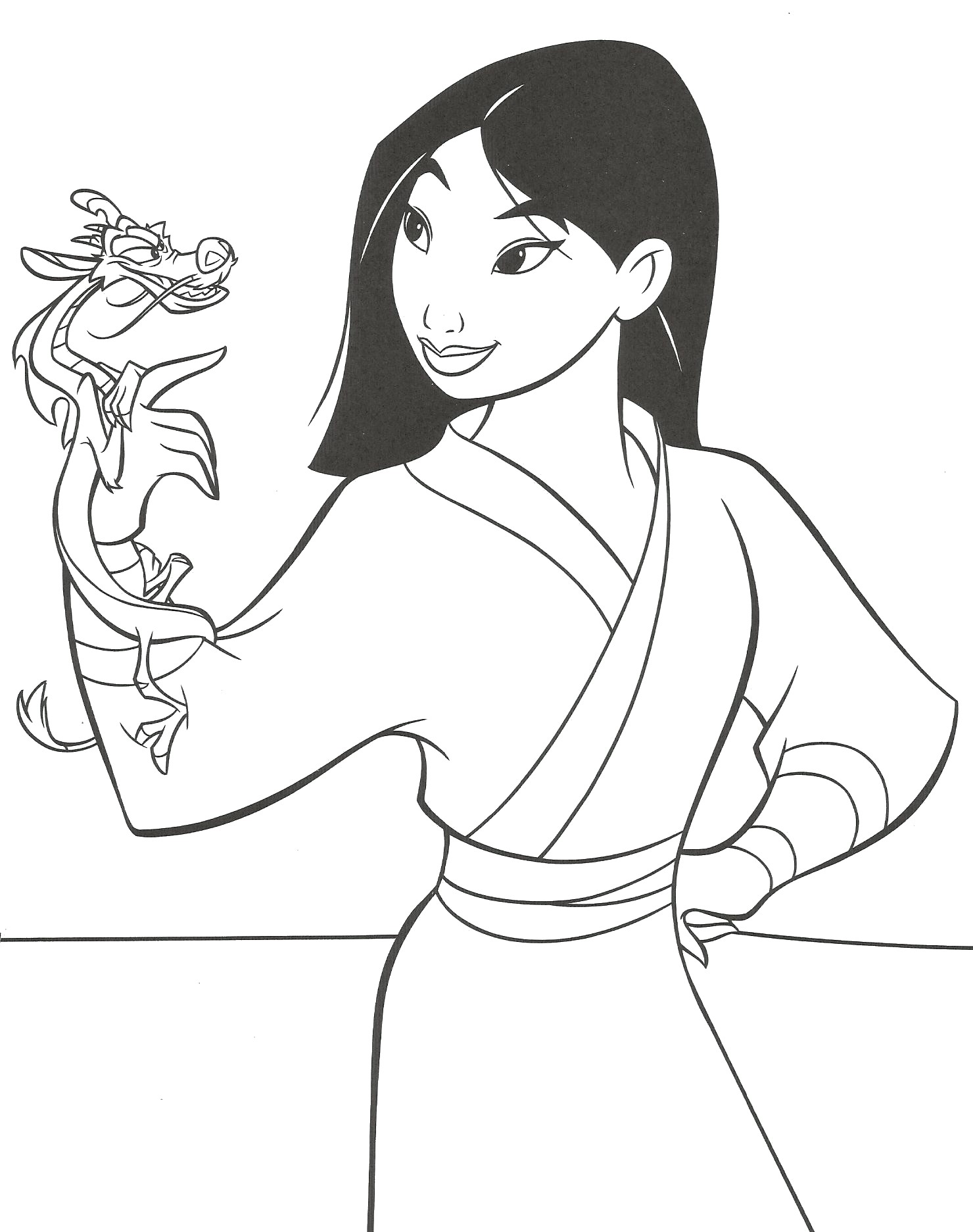 Coloriage Mulan et Mushu