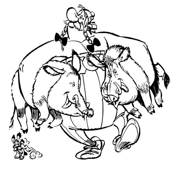 Coloriage Obelix sangliers