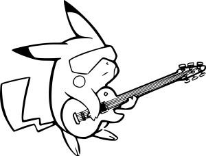 Coloriage Pikachu guitare