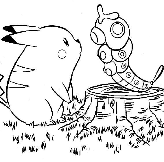 Coloriage Pikachu rencontre Pokemon