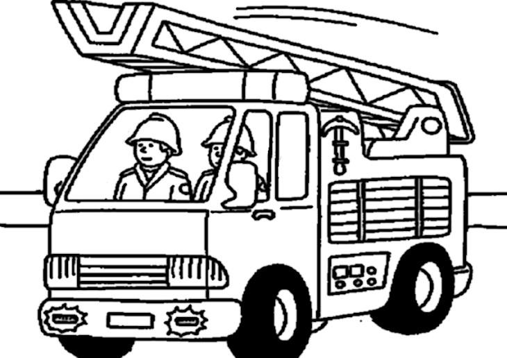 coloriage pompier dans un camion imprimer