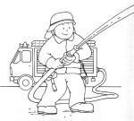 Coloriage pompier eteint un feu