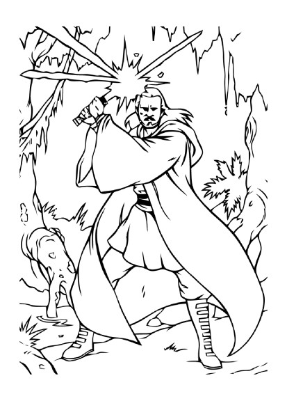 Coloriage Qui-Gon Jinn Star Wars