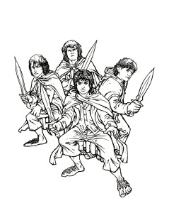 Coloriage seigneur des anneaux hobbits