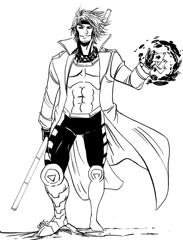 Coloriage super-hero Gambit