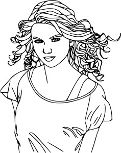 Coloriage Taylor Swift cheveux