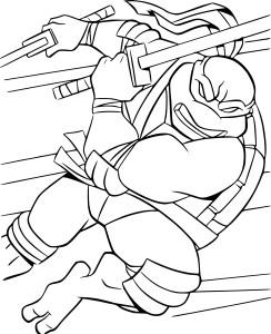 Coloriage Tortue Ninja combat