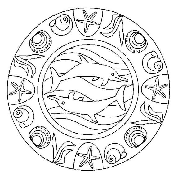 Dessin mandala dauphin