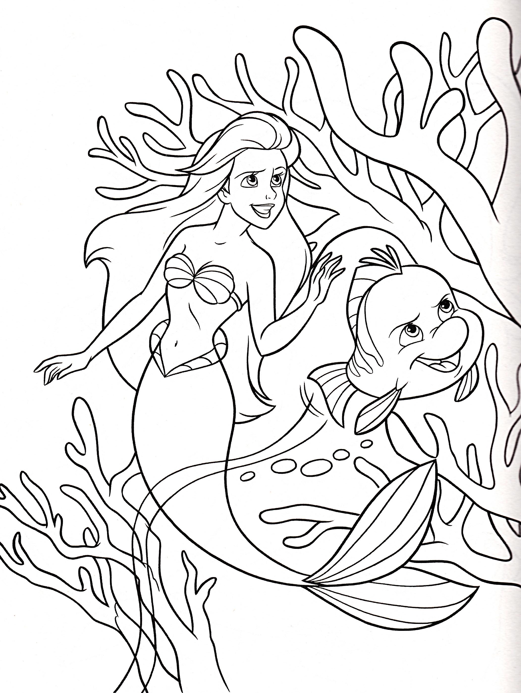 Coloriage La Petite Sirène Disney à Imprimer