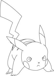 Pikachu en colere coloriage