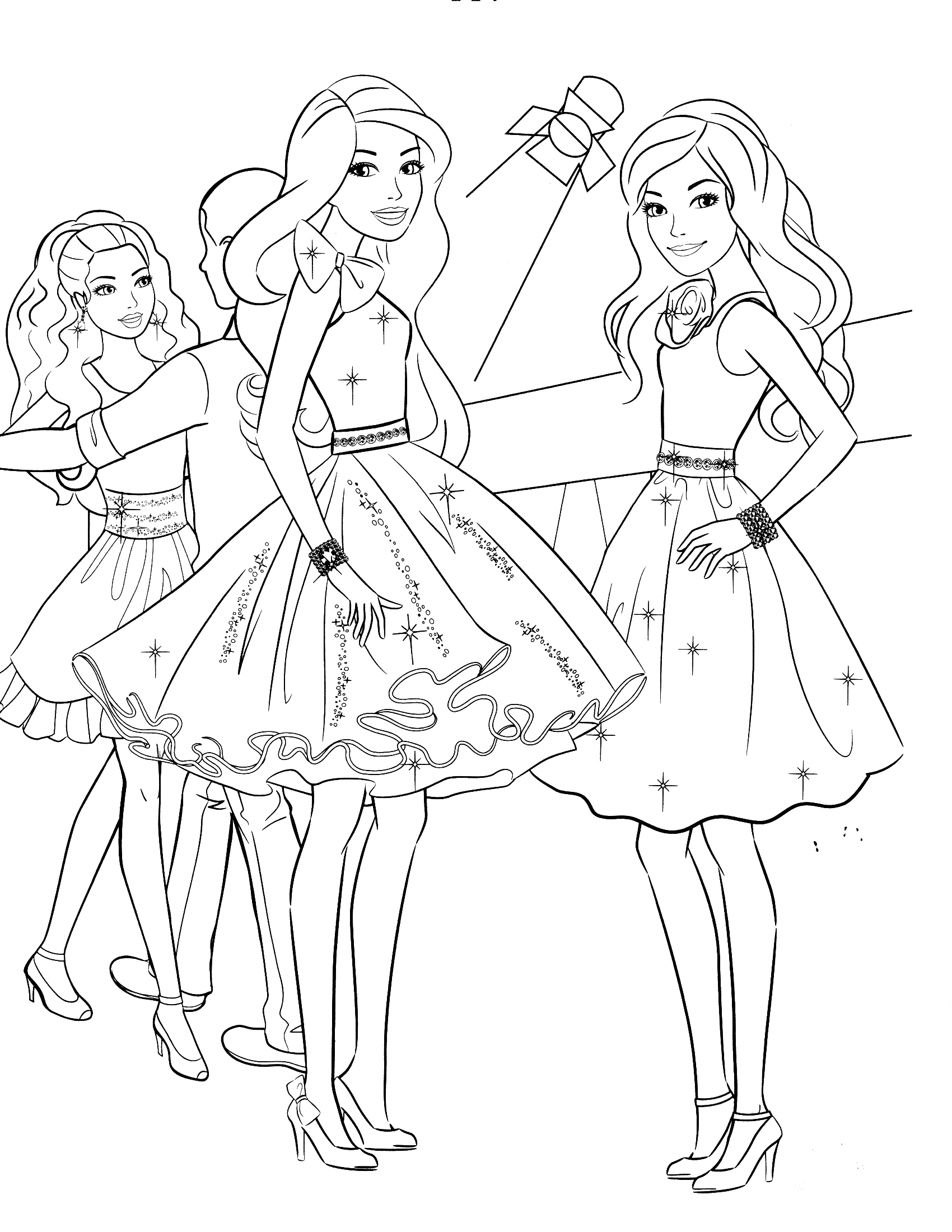 Coloriage Barbie au bal à imprimer