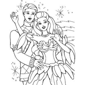 Coloriage Barbie danse avec Ken