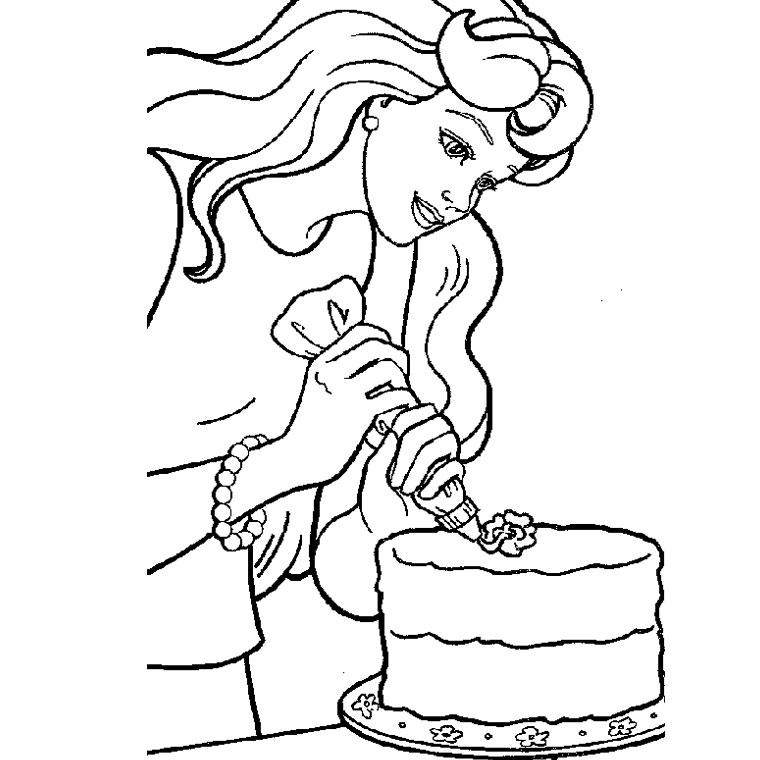 Coloriage Barbie gateau anniversaire