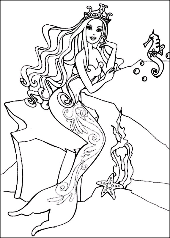 Coloriage Barbie sirene