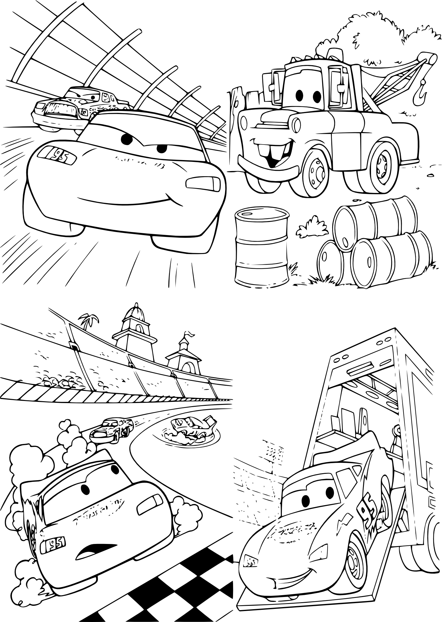 Coloriage Cars Flash et Martin